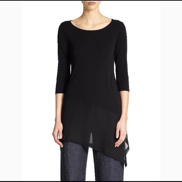 a9ba771611c Eileen Fisher Tops | Black Sheer Hem Silk Tunic | Poshmark